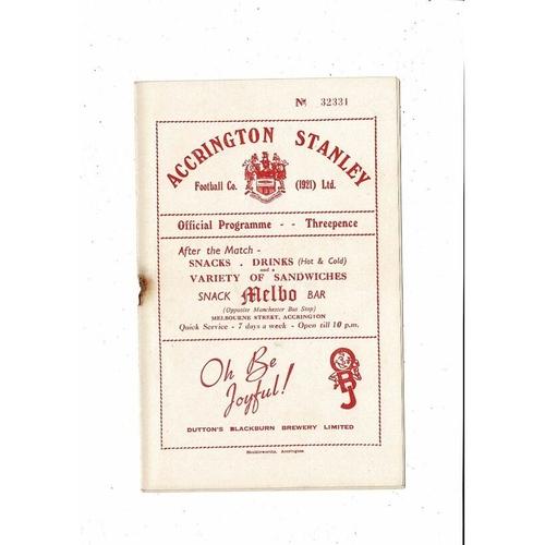 1953/54 Accrington Stanley v Rochdale Football Programme April