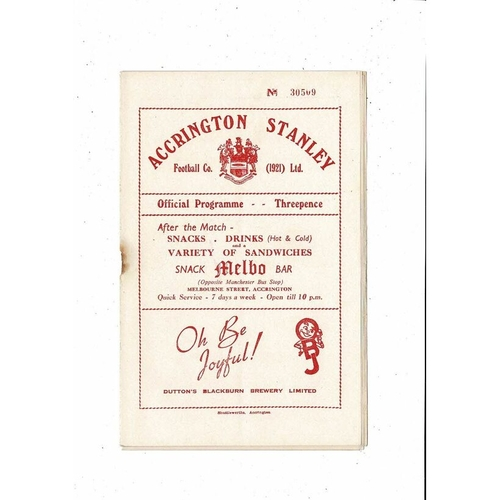 1953/54 Accrington Stanley v Crewe Alexandra Football Programme