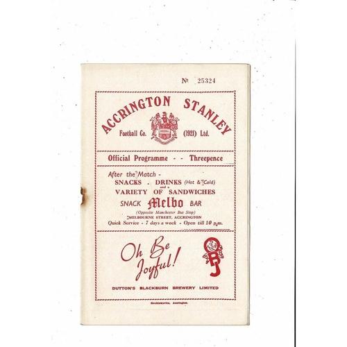 1953/54 Accrington Stanley v Darlington Football Programme