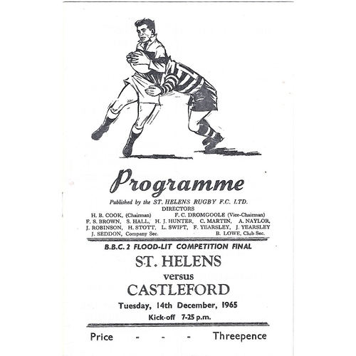 1965/66 St. Helens v Castleford BBC2 Floodlight Competition Final Rugby League Programme