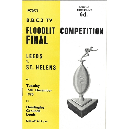 1970/71 Leeds v St. Helens BBC2 Floodlight Competition Final Rugby League Programme