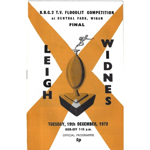1972/73 Leigh v Widnes BBC2 Floodlight Competition Final Rugby League Programme
