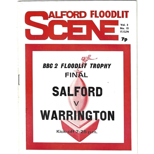 1974/75 Salford v Warrington BBC2 Floodlight Competition Final Rugby League Programme