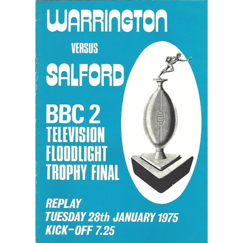 1974/75 Warrington v Salford BBC2 Floodlight Competition Final Replay Rugby League Programme