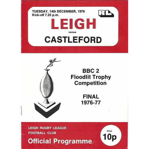 1976/77 Leigh v Castleford BBC2 Floodlight Competition Final Rugby League Programme