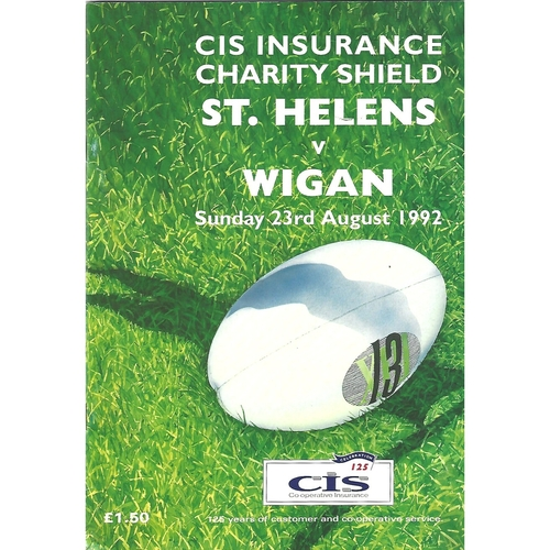 1992 St. Helens v Wigan Charity Shield Rugby League Programme