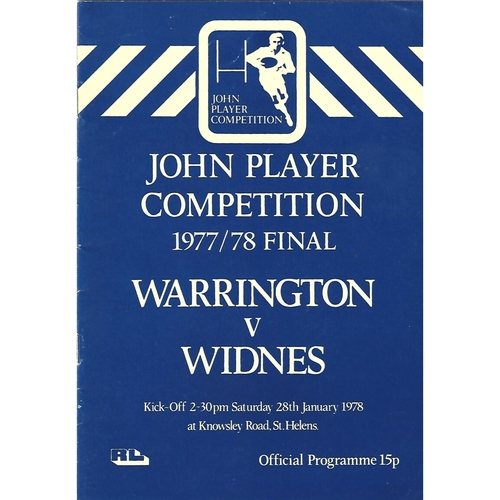 1977/78 Warrington v Widnes John Player Competition Final Rugby League Programme