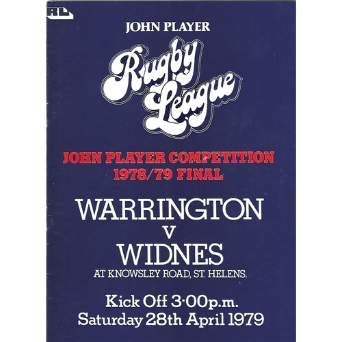 1978/79 Warrington v Widnes John Player Competition Final Rugby League Programme