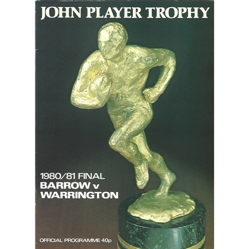 1980/81 Barrow v Warrington John Player Trophy Final Rugby League Programme