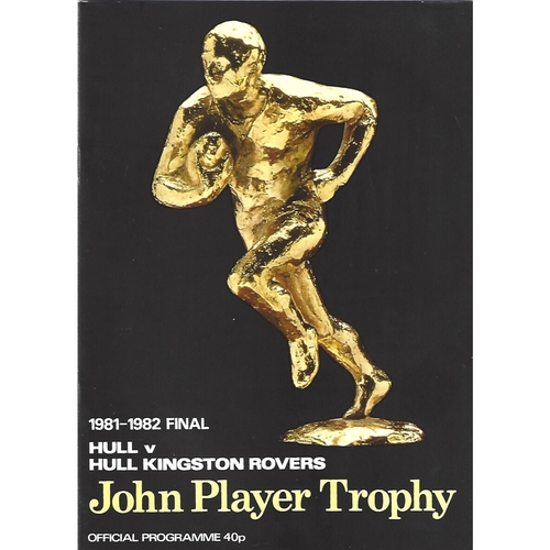 1981/82 Hull v Hull Kingston Rovers John Player Trophy Final Rugby League Programme