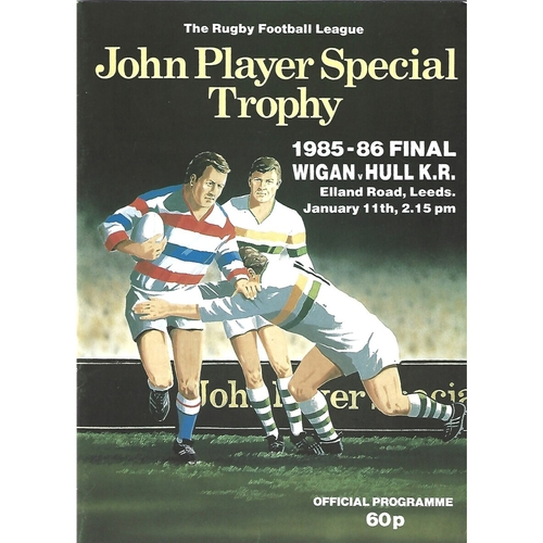 1985/86 Wigan v Hull Kingston Rovers John Player Special Trophy Final Rugby League Programme