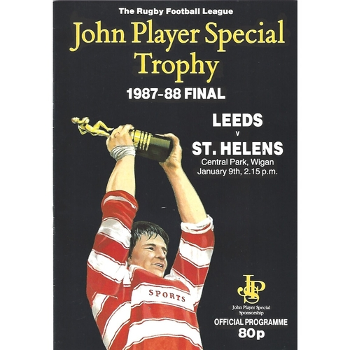 1987/88 Leeds v St. Helens John Player Special Trophy Final Rugby League Programme
