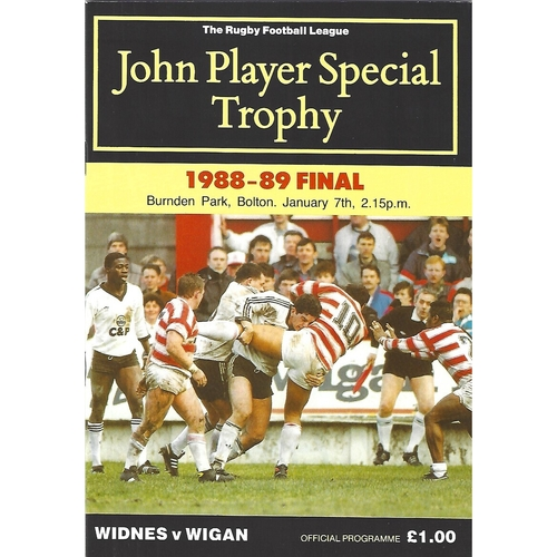 1988/89 Widnes v Wigan John Player Special Trophy Final Rugby League Programme