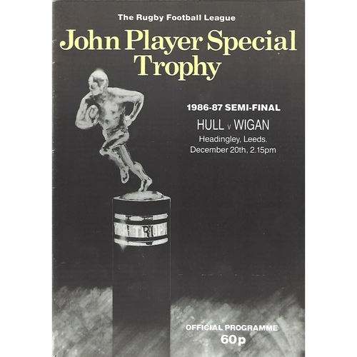 1986/87 Hull v Wigan John Player Special Trophy Semi Final Rugby League Programme