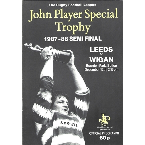 1987/88 Leeds v Wigan John Player Special Trophy Semi Final Rugby League Programme