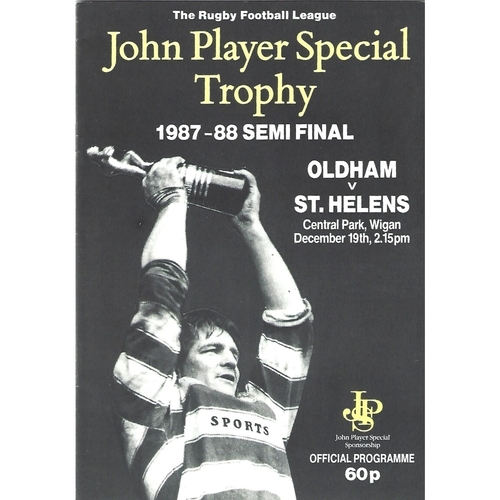 1987/88 Oldham v St. Helens John Player Special Trophy Semi Final Rugby League Programme