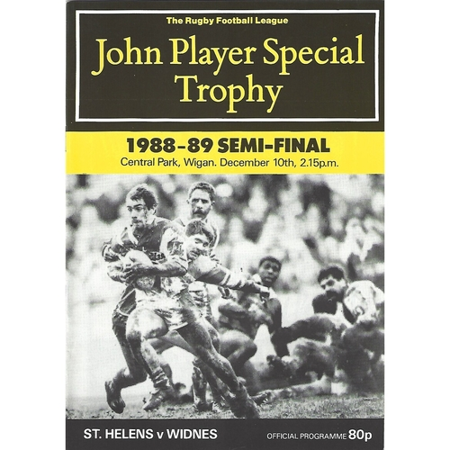 1988/89 St. Helens v Widnes John Player Special Trophy Semi Final Rugby League Programme