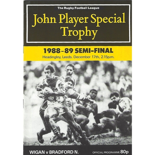 1988/89 Wigan v Bradford Northern John Player Special Trophy Semi Final Rugby League Programme