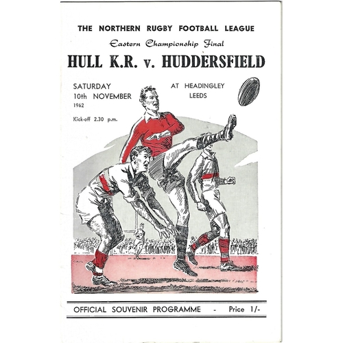 1962 Hull Kingston Rovers v Huddersfield Eastern Championship Final Rugby League Programme