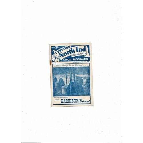 1949/50 Preston v Blackburn Rovers Football Programme