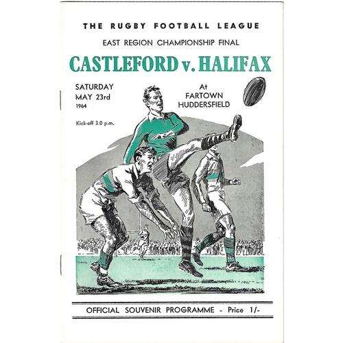 1964 Castleford v Halifax East Region Championship Final Rugby League Programme