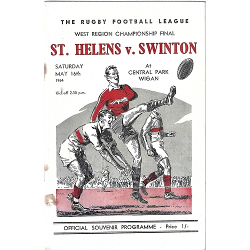 1964 St. Helens v Swinton West Region Championship Final Rugby League Programme
