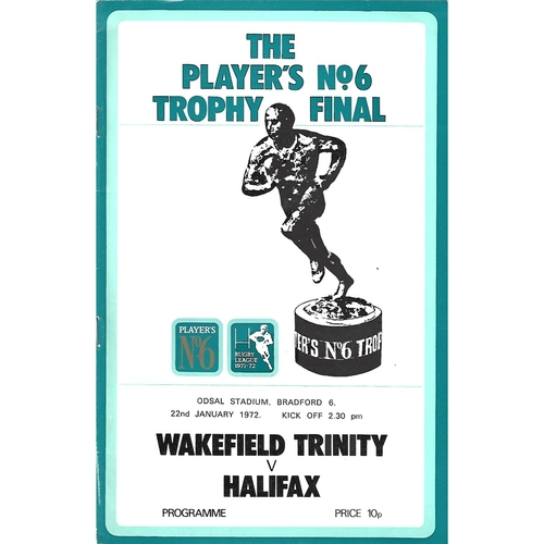 1971/72 Wakefield Trinity v Halifax Players No. 6 Final Rugby League Programme