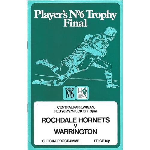 1973/74 Rochdale Hornets v Warrington Players No. 6 Final Rugby League Programme