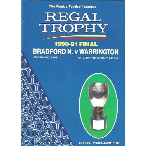 1990/91 Bradford Northern v Warrington Regal Trophy Final Rugby League Programme