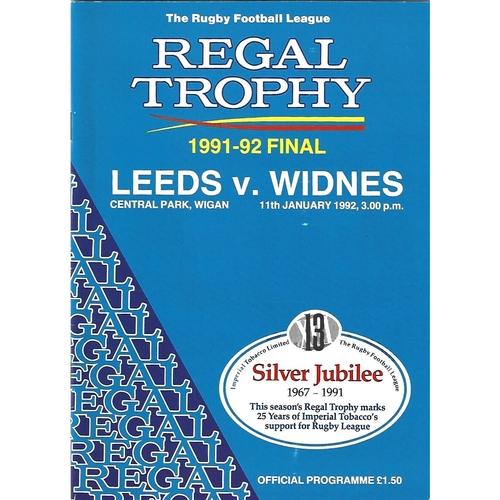 1991/92 Leeds v Widnes Regal Trophy Final Rugby League Programme