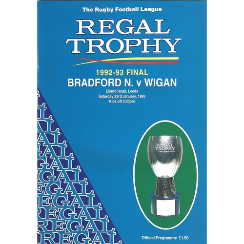 1992/93 Bradford Northern v Wigan Regal Trophy Final Rugby League Programme