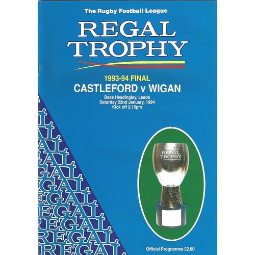 1993/94 Castleford v Wigan Regal Trophy Final Rugby League Programme