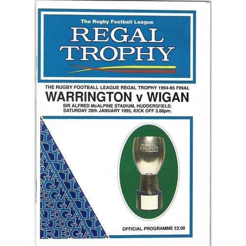 1994/95 Warrington v Wigan Regal Trophy Final Rugby League Programme