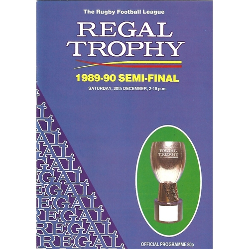 1989/90 Castleford v Leeds/Wigan Regal Trophy Semi Final Rugby League Programme