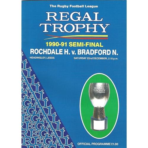 1990/91 Rochdale Hornets v Bradford Northern Regal Trophy Semi Final Rugby League Programme