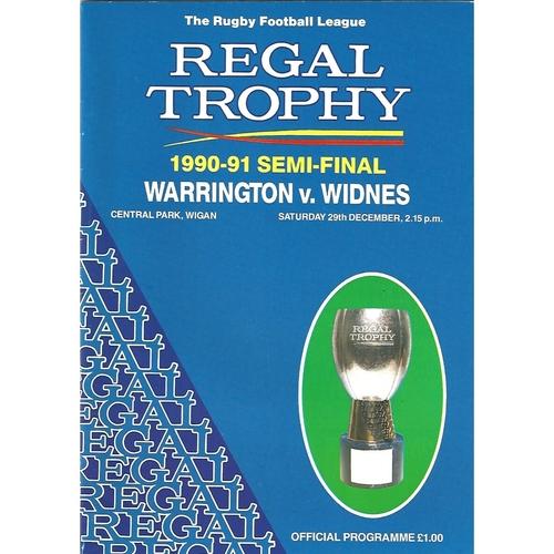 1990/91 Warrington v Widnes Regal Trophy Semi Final Rugby League Programme