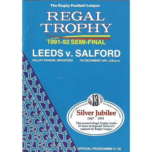 1991/92 Leeds v Salford Regal Trophy Semi Final Rugby League Programme