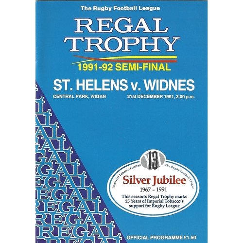 1991/92 St. Helens v Widnes Regal Trophy Semi Final Rugby League Programme