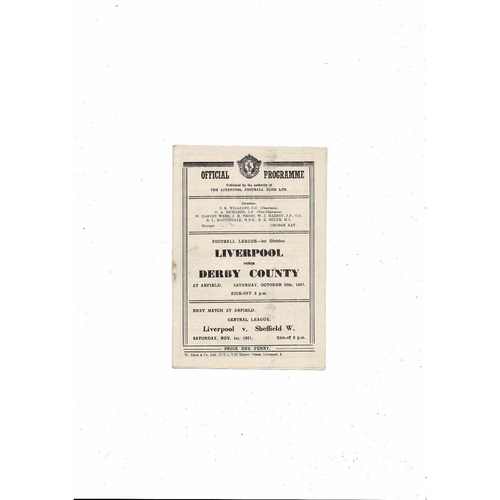 1947/48 Liverpool v Derby County Football Programme