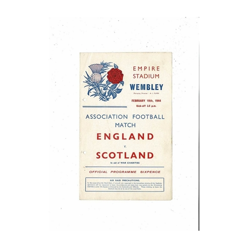 1944 England v Scotland Football Programme Feb.