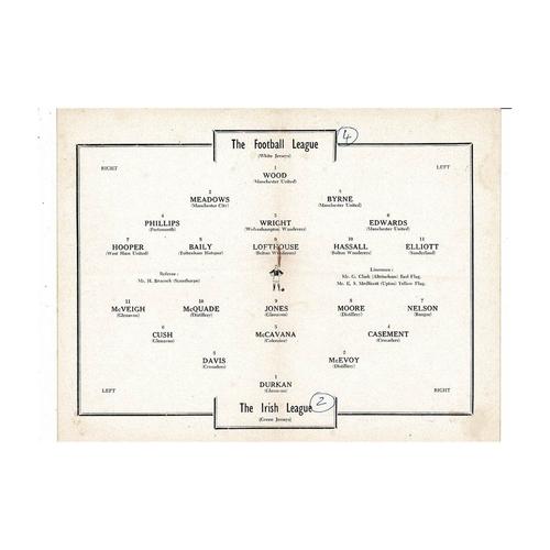 Football League v Irish League Football Programme 1954 @ Liverpool