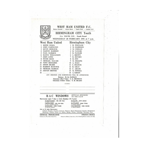 West Ham United v Birmingham City Youth Cup Football Programme 1990/91