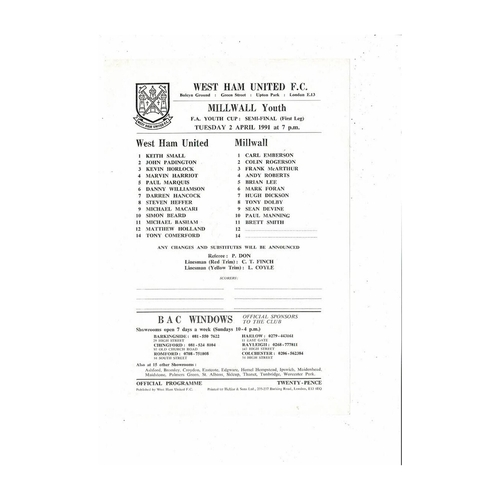 West Ham United v Millwall Youth Cup Football Programme 1990/91