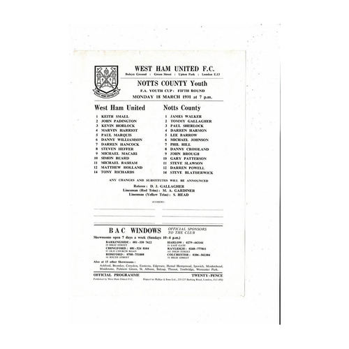 West Ham United v Notts County Youth Cup Football Programme 1990/91