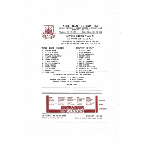 West Ham United v Leyton Orient Youth Cup Football Programme 1993/94