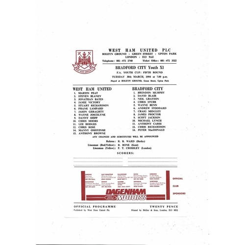 West Ham United v Bradford City Youth Cup Football Programme 1993/94