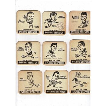 9 x Aston Villa Vintage Beer Mats one autographed by Harry Burrows Football
