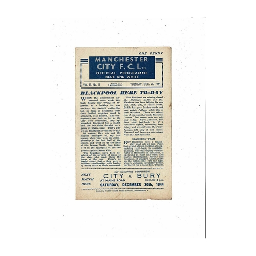 1944/45 Manchester City v Blackpool Football Programme Dec
