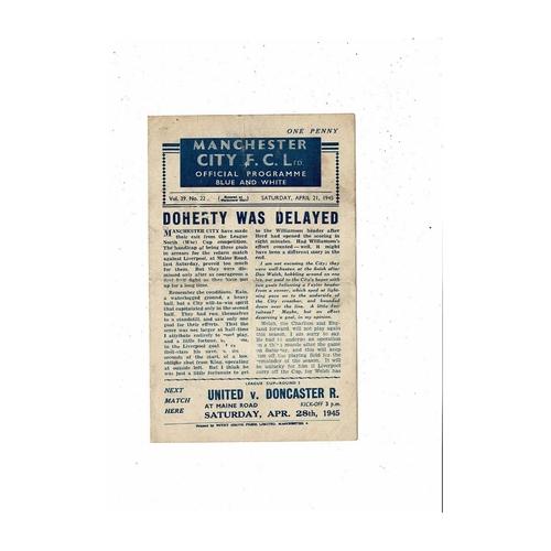 1944/45 Manchester City v Blackpool Football Programme April