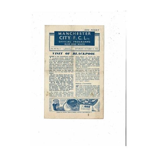 1945/46 Manchester City v Blackpool Football Programme